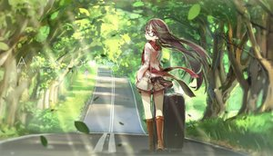 Rating: Safe Score: 133 Tags: boots brown_hair glasses hong_(white_spider) leaves long_hair original purple_eyes scarf skirt tree User: FormX