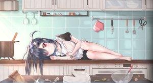 Rating: Safe Score: 58 Tags: apron barefoot black_hair cake cuna_(qunya) food long_hair maid original pink_eyes User: RyuZU