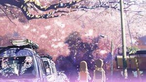 Rating: Safe Score: 52 Tags: brown_hair byousoku_5_centimetre car cherry_blossoms petals shinkai_makoto shinohara_akari toono_takaki tree User: atlantiza