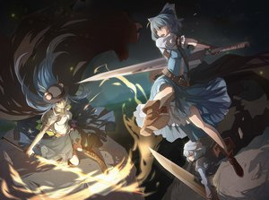 Rating: Safe Score: 152 Tags: advent_cirno cirno hinanawi_tenshi letty_whiterock nye sword touhou weapon User: Wiresetc
