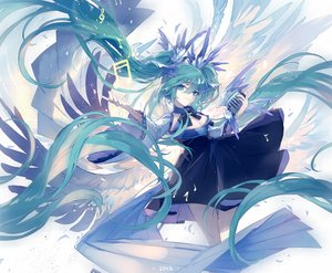 Rating: Safe Score: 42 Tags: aqua_eyes aqua_hair breasts cleavage hatsune_miku long_hair lyodi microphone music vocaloid wings User: FormX