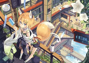 Rating: Safe Score: 127 Tags: animal_ears blue_eyes clouds collar flat_chest flowers foxgirl japanese_clothes kneehighs long_hair male original poco popsicle short_hair shorts sky stairs tail train white_hair User: RyuZU
