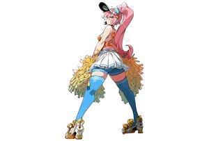 Rating: Safe Score: 52 Tags: ass bike_shorts cheerleader choker hat kafun long_hair orange_eyes original pink_hair ponytail shorts skirt thighhighs white zettai_ryouiki User: otaku_emmy