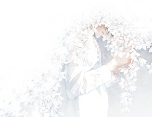 Rating: Safe Score: 37 Tags: all_male flowers male original polychromatic re° shirt short_hair watermark white User: FormX