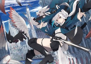 Rating: Safe Score: 93 Tags: animal animal_ears bird blush boots building cat city clouds feathers foxgirl hat long_hair nagishiro_mito original rabbit shorts sky sword tail thighhighs water weapon white_hair witch_hat yellow_eyes User: RyuZU