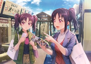 Rating: Safe Score: 37 Tags: 2girls building city kazuno_leah kazuno_sarah love_live!_sunshine!! paper phone ponytail purple_eyes purple_hair shamakho signed twintails User: Dreista