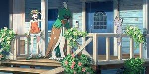 Rating: Safe Score: 22 Tags: black_eyes black_hair decidueye flowers hat meowth mizuki_(pokemon) pippi_(p3i2) pokemon short_hair shorts twintails User: RyuZU