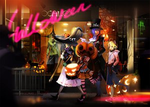 Rating: Safe Score: 94 Tags: alphonse animal aqua_hair blonde_hair blue_hair cat catboy collar halloween hat hatsune_miku headphones kagamine_len kagamine_rin kaito pumpkin skirt thighhighs vocaloid witch User: NERVchild