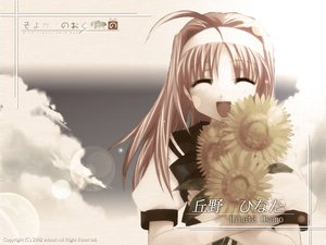 Rating: Safe Score: 3 Tags: blonde_hair clouds flowers headband long_hair okano_hinata school_uniform sky sunflower wind:_a_breath_of_heart User: Oyashiro-sama