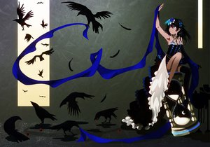 Rating: Safe Score: 122 Tags: animal bird black_hair blue_eyes dress flowers funakura gloves jpeg_artifacts long_hair original thighhighs User: PAIIS