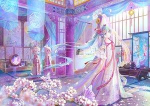 Rating: Safe Score: 162 Tags: aqua_hair blonde_hair blue_eyes cherry_blossoms chinese_clothes fan hatsune_miku kagamine_len kagamine_rin loli long_hair male mirror peas_(peas0125) petals reflection short_hair twintails vocaloid User: RyuZU