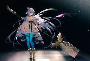 Rating: Safe Score: 65 Tags: dress green_eyes long_hair luo_tianyi pantyhose purple_hair tidsean twintails vocaloid vsinger weapon User: BattlequeenYume