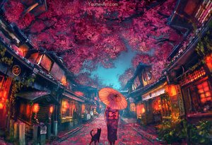 Rating: Safe Score: 156 Tags: animal building cat flowers japanese_clothes kimono original tree umbrella watermark wenqing_yan_(yuumei_art) User: BattlequeenYume