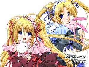 Rating: Safe Score: 29 Tags: blonde_hair blue_eyes bunny headband innocence long_hair nishimata_aoi ribbons suzuhira_hiro twins twintails white User: Oyashiro-sama