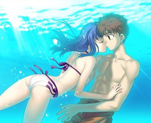 Rating: Safe Score: 40 Tags: bikini emiya_shirou fate_(series) fate/stay_night kiss male matou_sakura swimsuit underwater water User: Eruku