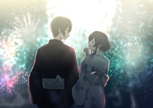 Rating: Safe Score: 33 Tags: black_hair blush fireworks japanese_clothes kito_akari male osananajimi_no_imouto_no_kaiteikyoushi_wo_hajimetara short_hair sinomi tagme_(character) yukata User: Dreista