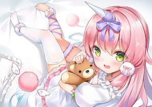 Rating: Safe Score: 49 Tags: blush bow dress ginn_(hzh770121) green_eyes horns loli long_hair pink_hair signed tagme_(character) teddy_bear thighhighs User: BattlequeenYume