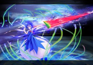 Rating: Safe Score: 40 Tags: advent_cirno blue_eyes blue_hair bow cirno dress ribbons short_hair sky tagme_(artist) touhou water watermelon weapon User: ガラス