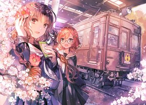 Rating: Safe Score: 84 Tags: 2girls original rioka_(southern_blue_sky) school_uniform train User: RyuZU
