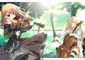 Rating: Safe Score: 9 Tags: 2girls forest instrument music tagme tree violin User: Oyashiro-sama