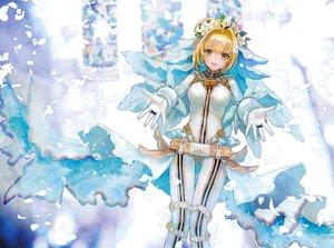Rating: Safe Score: 9 Tags: blonde_hair chain fate/grand_order fate_(series) flowers gloves green_eyes petals saber saber_bride short_hair shutsuri User: RyuZU