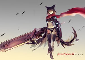 Rating: Safe Score: 318 Tags: animal_ears armor black_hair chainsaw gray_eyes kikira navel original pixiv_fantasia pointed_ears scarf short_hair signed thighhighs weapon User: FormX