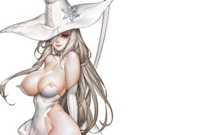 Rating: Questionable Score: 87 Tags: blue_eyes breasts brown_hair cleavage cropped dudu_(thegreatbutt) elbow_gloves gloves halloween hat leotard long_hair nipples original polychromatic skintight third-party_edit white witch witch_hat User: otaku_emmy
