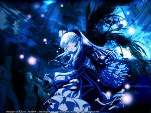 Rating: Safe Score: 52 Tags: goth-loli lolita_fashion pink_eyes rozen_maiden signed suigintou wings User: Oyashiro-sama