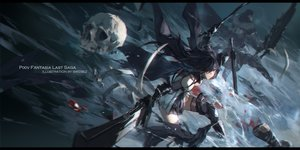 Rating: Safe Score: 53 Tags: armor black_hair elbow_gloves eyepatch gloves original pixiv_fantasia skull swd3e2 sword thighhighs watermark weapon User: RyuZU