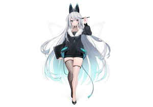 Rating: Safe Score: 71 Tags: animal_ears aqua_eyes blush cat_smile computer dress garter gray_hair hoodie huion logo long_hair muryou original see_through techgirl thighhighs white zettai_ryouiki User: otaku_emmy