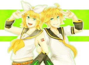 Rating: Safe Score: 0 Tags: blonde_hair bow green_eyes kagamine_len kagamine_rin male vocaloid User: HawthorneKitty
