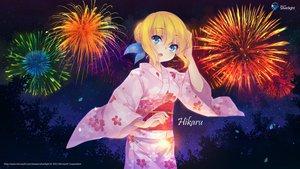 Rating: Safe Score: 112 Tags: aizawa_hikaru blonde_hair blue_eyes bow fireworks japanese_clothes leaves microsoft night os-tan stars tree yukata User: feiyuelisky