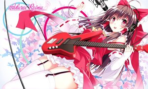 Rating: Safe Score: 103 Tags: aliasing bass bow brown_hair bullet flowers garter_belt hakurei_reimu headphones instrument japanese_clothes microphone miko red_eyes ribbons stockings thighhighs touhou User: Flandre93