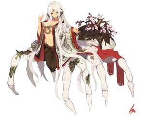 Rating: Safe Score: 35 Tags: breasts brown_eyes cherry_blossoms flowers horns japanese_clothes kimono lansane long_hair navel no_bra open_shirt original signed white white_hair User: otaku_emmy