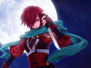 Rating: Safe Score: 73 Tags: meiko moon ninja red_eyes red_hair scarf vocaloid weapon User: haru3173