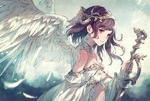 Rating: Safe Score: 82 Tags: angel brown_hair feathers kusano_shinta original red_eyes sword weapon wings User: BattlequeenYume