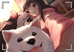 Rating: Safe Score: 59 Tags: animal ardenlolo blush book brown_eyes brown_hair camera close dog hoodie long_hair original watermark wink User: mattiasc02