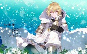 Rating: Safe Score: 18 Tags: all_male armor blonde_hair cape clouds flowers gloves hoodie male petals red_eyes short_hair sky watermark yuuki_kira User: otaku_emmy