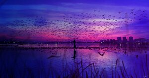 Rating: Safe Score: 45 Tags: animal bird building city clouds grass instrument long_hair original polychromatic scenic signed sky skyrick9413 violin water User: mattiasc02
