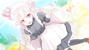 Rating: Safe Score: 26 Tags: apron bow fujiwara_no_mokou headdress long_hair maid pantyhose red_eyes sinzan sketch touhou white_hair User: sadodere-chan