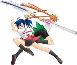Rating: Questionable Score: 18 Tags: 2girls bell blue_hair kagurazaka_asuna katana mahou_sensei_negima orange_hair sakurazaki_setsuna sword twintails weapon white User: 秀悟