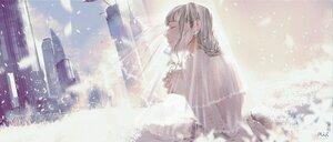Rating: Safe Score: 15 Tags: building city gray_hair headdress maeda_mic original petals polychromatic watermark wedding_attire User: FormX