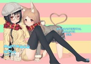 Rating: Safe Score: 145 Tags: 2girls animal_ears brown_eyes catgirl glasses hat izumi_sai original panties scarf tail thighhighs underwear User: opai