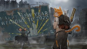 Rating: Safe Score: 32 Tags: animal animal_ears building catgirl city glasses industrial mouse orange_hair original red_eyes robot ruins tail tommy830219 User: Dreista