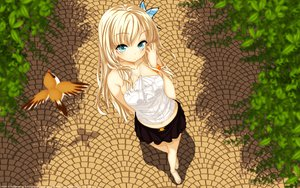 Rating: Safe Score: 235 Tags: animal bird blonde_hair blue_eyes boku_wa_tomodachi_ga_sukunai butterfly kashiwazaki_sena leaves long_hair skirt User: garypan
