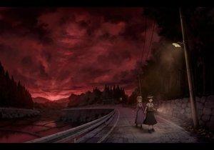 Rating: Safe Score: 134 Tags: 2girls dark dress hat maribel_han red sasajqazwsx scenic sky tie touhou usami_renko User: FormX