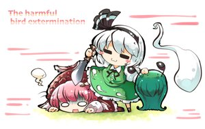 Rating: Safe Score: 7 Tags: 2girls cat_smile dress headband kashuu_(b-q) knife konpaku_youmu myon mystia_lorelei pink_hair short_hair skirt touhou waifu2x weapon white_hair User: otaku_emmy