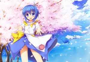 Rating: Safe Score: 49 Tags: blue_eyes blue_hair cherry_blossoms dress flowers petals taharu_kousuke ukagaka unyuu User: opai
