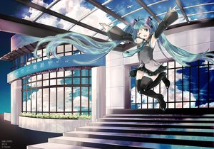 Rating: Safe Score: 42 Tags: aircraft aqua_eyes aqua_hair building clouds hatsune_miku long_hair reflection stairs tagme_(artist) thighhighs twintails vocaloid User: luckyluna