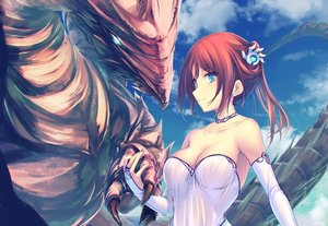 Rating: Safe Score: 77 Tags: aqua_eyes breasts choker cleavage dragon dress elbow_gloves gloves original red_hair tenmaso User: Zolxys